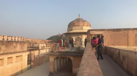 amer fort : Jaipur, India, November 05, 2019, Amer Fort tourists stroll through the premises of the old fortress part 5 4K