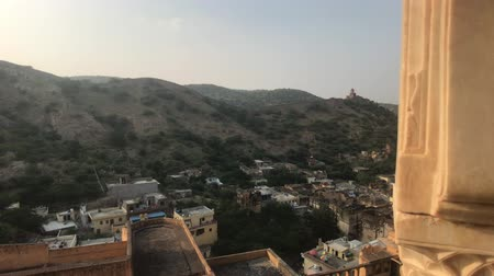 amer fort : Amer Fort view of the mountains from the fortress under the sun 4K Stock Footage