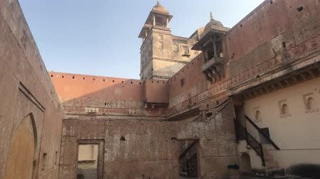 slum : Jaipur, India, November 05, 2019, Amer Fort patio with stairs of the old castle 4K