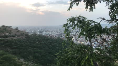 slum : Jaipur, India - Galta Ji, mountain view during sunset part 8 4K