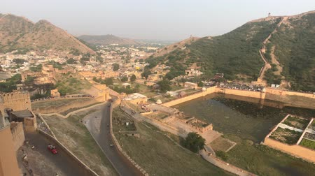 geliştirmek : Jaipur, India, November 05, 2019, Amer Fort view of the mountains from the fortress under the sun part 4 4K Stok Video