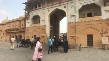 amer fort : ,Jaipur, India, November 05, 2019, Amer Fort, tourists inspect the old buildings around them part 3 4K