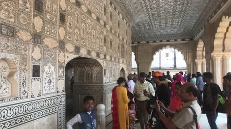 amer fort : Jaipur, India, November 05, 2019, Amer Fort tourists clustered for sightseeing 4K
