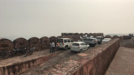 jaigarh : Jaipur, India - November 03, 2019: Jaigarh Fort tourists walk along the walls of the old fortress on top of the mountain part 3 4K