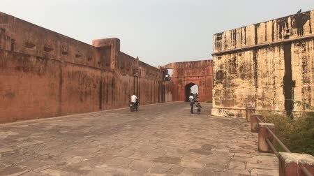 jaigarh : Jaipur, India - November 03, 2019: Jaigarh Fort tourists walk in the courtyard of the old fortress part 8 4K