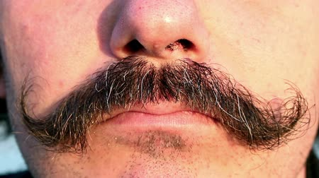 bigodes : Closeup of mans mustaches and mouth while being angry Vídeos