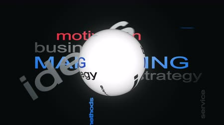 levelezési : Marketing Business Strategy Word Cloud Text Animation With Sphere Stock mozgókép