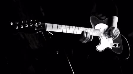 jazz : Guitarist Playing Guitar in the Music Studio Stock Footage