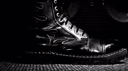 serseri : Combat Boot Stepping .Hard Rock and Heavy Metal Concept Stok Video