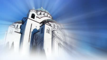 православие : Saint Sava Temple In Belgrade Serbia. Bursting Bluring Light Rays
