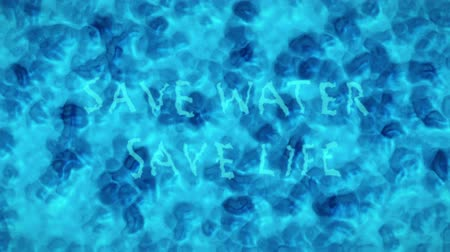 salva vidas : Turquoise Blue Water Surface With Splashing Waves and Text Saying Save Water, Save Life. Computer Generated Animation Vídeos