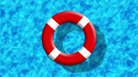 lifebuoy : Summer Holiday At Swimming Pool With Inflatable Ring Floating On a Blue Water Surface