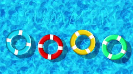 lifebuoy : Summer Holiday At Swimming Pool With Inflatable Rings Floating On a Blue Water Surface