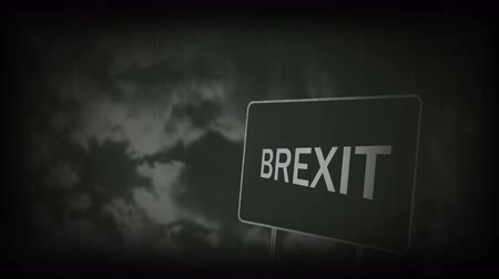 siyasi : Brexit Concept. Great Britain Departing European Uniun. Brexit Road Sign Against Sky Background Stok Video
