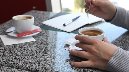 planejador : Woman having a coffee in cafe while making notes in daily planner business agenda Stock Footage