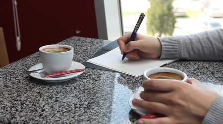 dosya : Woman having a coffee in cafe while making notes in daily planner business agenda Stok Video