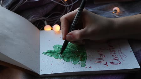 redaccion : Sketch hand art drawing of x-mas tree with merry Christmas Archivo de Video