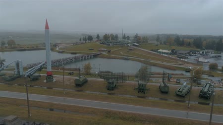 Aerial View. The Stalin Lines Museum in the fog and in the rain