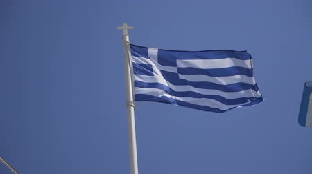 falido : View of Greek flag in the breeze Stock Footage