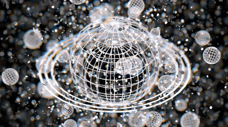camera rotation : White atom grid sphere, blur bokeh, 3D rendering, Animation.