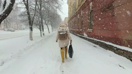 Heavy snowfall and Blizzard in the city. Girl walking down the street in snow-covered clothes on a gloomy winter day. Large snowflakes are falling. First person view. Look at the man from the back. Filmati Stock
