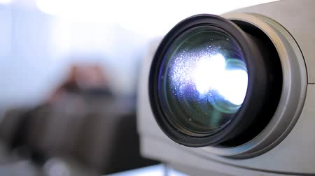 video reel : Lens projector close-up in the cinema Stock Footage
