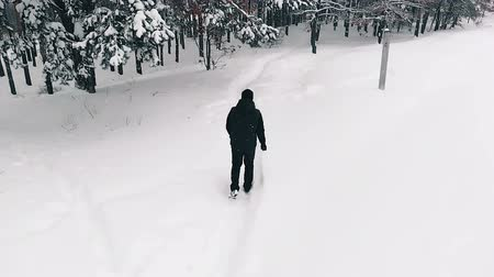 Lone Man Walking Through Snow