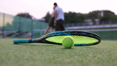 Tennis racket with a ball is on the court