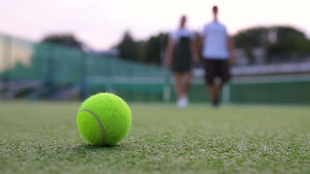 tennis stadium : Close up of a tennis ball on the court