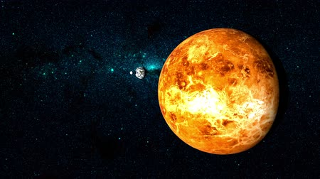 yörünge : Planet Venus on a beautiful starry background, orbiting around the sun. Some of the other planets in the solar system also shown orbiting around the sun in the background.