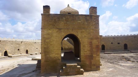 baku : Ateshgah Zoroastrian Fire Temple Courtyard with Blue Sky on Background Stock Footage