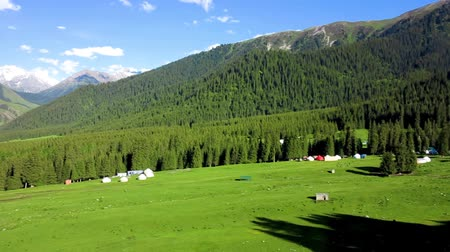 kul : Karakol Glen Defile Snow Capped Mountains Forest with Yurt Camp and Blue Sky Background Clouds