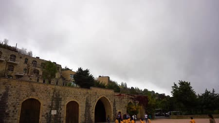 nearly : Lebanon Beiteddine Main Gate with Moving Cloudy Sky