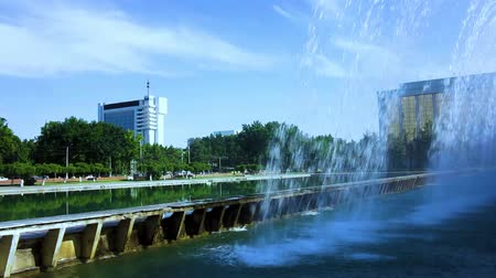 appeal : Tashkent Mustaqillik Maydoni Independence Square Fountain with Sharaf Rashidov Avenue View