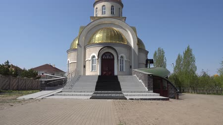 brazen : Sultans Only Astana Saint Joseph Ukrainian Catholic Church Frontal View of Main Entrance on a Blue Sky Day Stock Footage