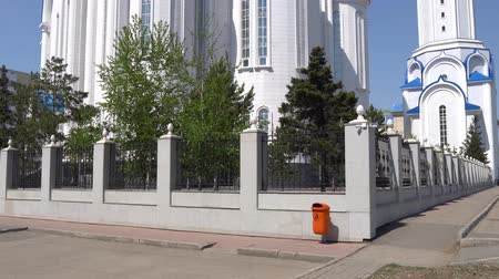 sobor : Nur-Sultan Astana Russian Orthodox Christian Assumption Cathedral Backside View on a Sunny Blue Sky Day