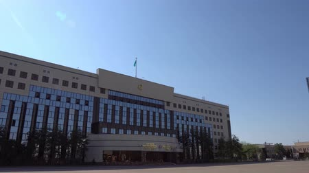 polinésia : Nur-Sultan Akimat of Astana City Hall and Academy of Public Administration under the President of the Republic of Kazakhstan Building on a Sunny Blue Sky Day