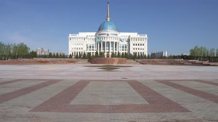 adminisztratív : Nur-Sultan Astana Ak Orda Presidential Palace of the Republic of Kazakhstan Building on a Sunny Cloudy Blue Sky Day