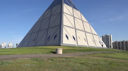 piramide : Just-Sultan Astana Palace of Pyramid Peace and Reconciliation View on a Cloudy Sunny Blue Sky Day
