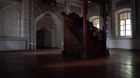 Zharkent Mosque Minbar Staircase with Decorated Carved Islamic Flower Mihrab and Lantern at Background Stock Footage