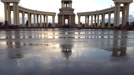 tajik : Kulob Castle Square at City Center Frontal Breathtaking Picturesque View on a Cloudy Rainy Blue Sky Day Stock Footage
