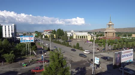 Kulob City Center Crossroad at Castle Square Tomi Street and Ismoil Somoni Avenue High Street View with Busy Traffic in the Morning Stock Footage