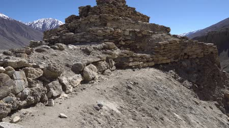 gorno : Pamir Highway Vrang Buddhist Stupa Low Angle Frontal View With A Snow Capped Mountains At A Sunny Blue Sky Day