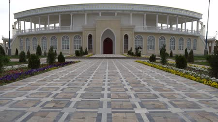 citadela : Istaravshan Kalai Mug Teppe Fortress Courtyard Frontal View of Amphitheater on a Cloudy Rainy Day