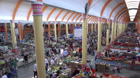 syrdarya : Khujand Panjshanbe Main Bazaar Interior High Angle Side View of the Busy Market with Vendors Selling their Goods Stock Footage