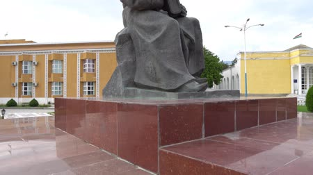 költő : Penjikent Abu Abdullah Rudaki Statue in front of the Historical Museum on a Cloudy Blue Sky Day