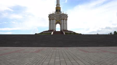 stella : Dushanbe Independence Monument Breathtaking Picturesque Low Angle View On A Sunny Blue Sky Day
