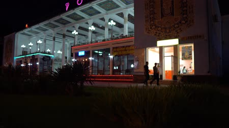 silk road : Dushanbe Famous Rohat Teahouse Restaurant Side View with Illuminated Glowing Neon Lights at Night