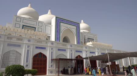 silk road : Larkana Bhutto Family Mausoleum Side View with People