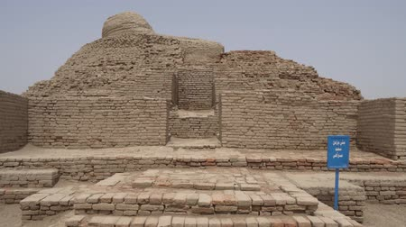 archeological : Larkana Mohenjo Daro Archaeological Site Buddhist Stupa on a Sunny Blue Sky Day